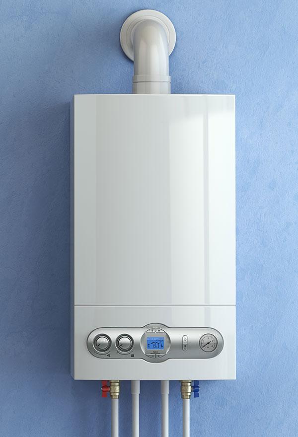 gas boiler on blue background