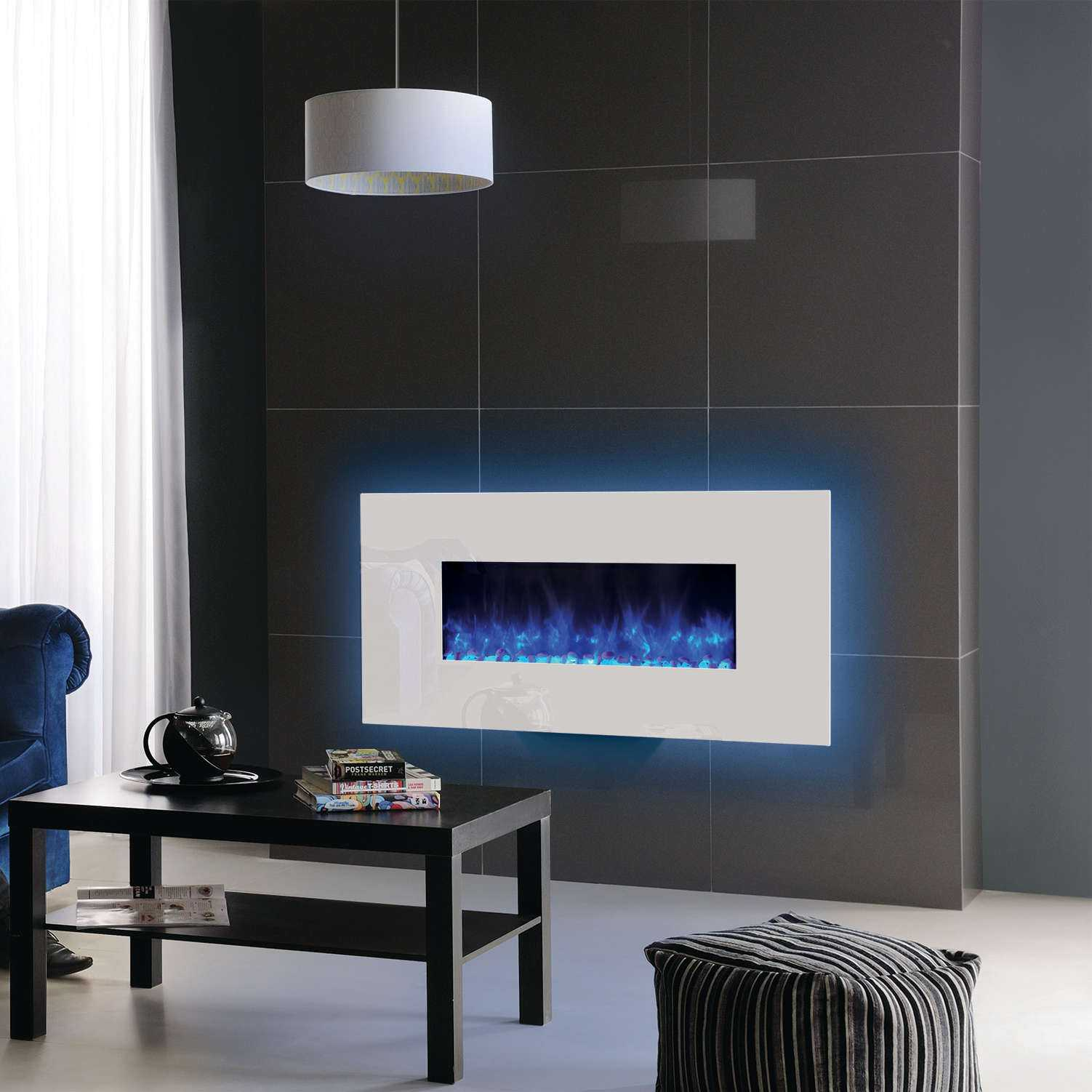 fireplace with blue radiance