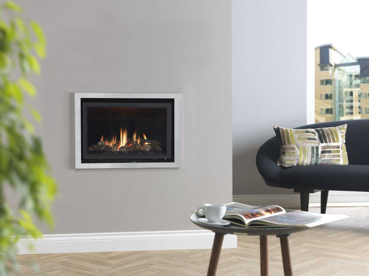 modern fireplace built in wall